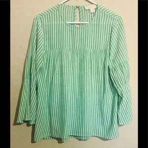 Micheal Kors Striped Green Blouse Top Sz M